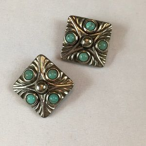 Jewelry - 80/90's Silver Square & Faux Turquoise Earrings